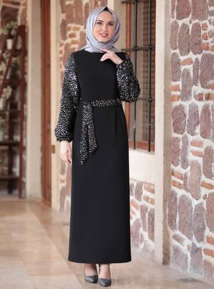 Black - Unlined - Crew neck - Modest Evening Dress