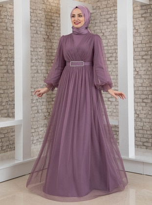 Lilac - Fully Lined - Crew neck - Modest Evening Dress - Fashion Showcase Design