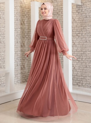 Onion Skin - Fully Lined - Crew neck - Muslim Evening Dress