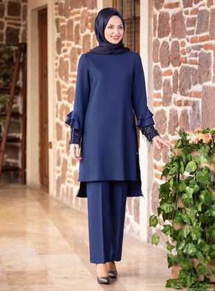 Unlined - Indigo - Crew neck - Evening Suit - Fashion Showcase Design