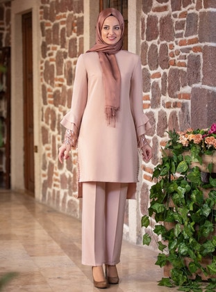 Unlined - Stone - Crew neck - Evening Suit - Fashion Showcase Design
