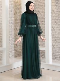 Petrol - Fully Lined - Crew neck - Muslim Evening Dress