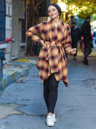 Mustard - Plaid - Unlined - Shawl Collar - Topcoat