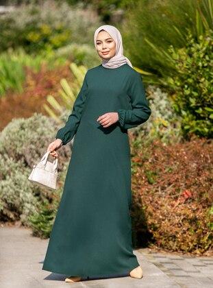 Hidden Pocket Dress - Emerald Green