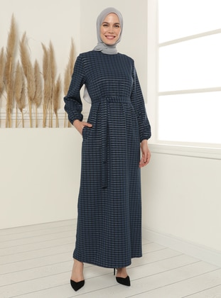 Square Patterned Belted Dress - Navy Blue