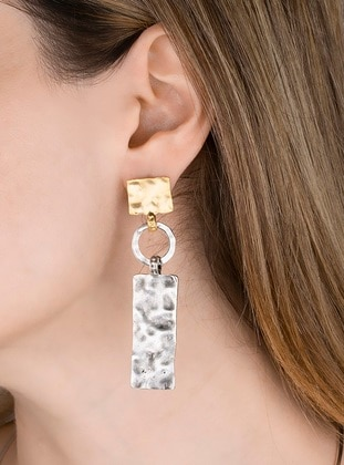 Gold - Silver tone - Yellow - Earring