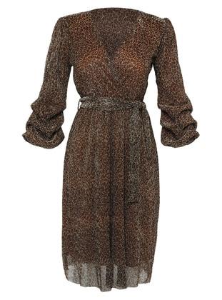 Mustard - Leopard - V neck Collar - Fully Lined - Dress