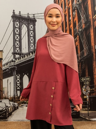 Front Button Detailed Tunic - Dark Dusty Rose