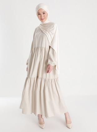 Beige - Crew neck - Unlined - Modest Dress