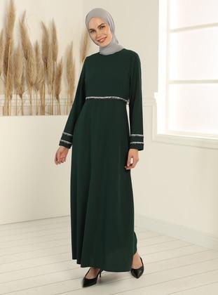 Glitter Detailed Dress - Emerald Green
