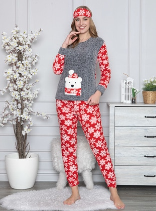 Gray - Crew neck - Multi - Pyjama Set