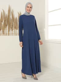 Gizli Cepli Elbise - İndigo