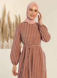 Square Patterned Belted Dress - Dusty Rose