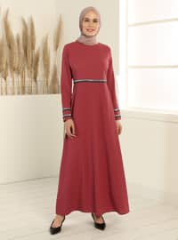 Gümüş Detaylı Elbise - Pudra Pembe