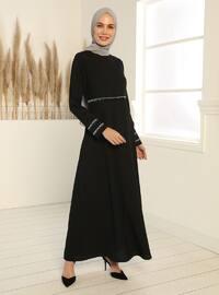Glitter Detailed Dress - Black