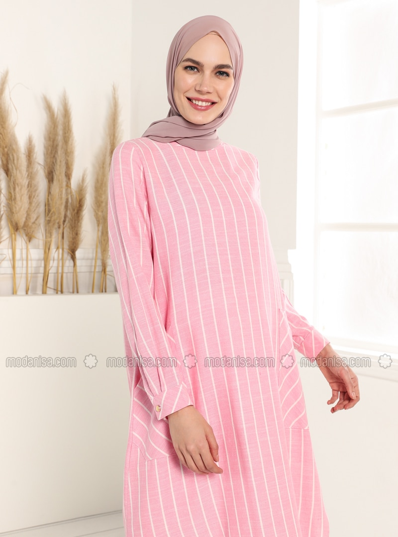 Dusty Rose - Stripe - Crew neck - Tunic