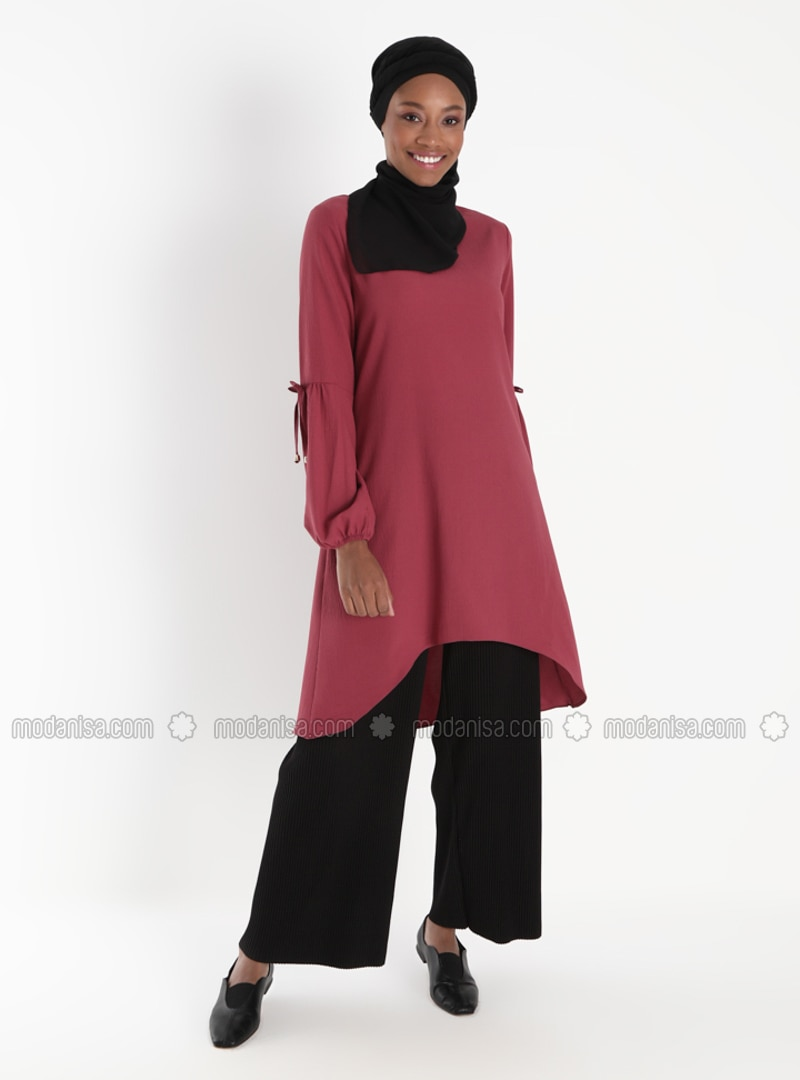 Sleeves Ribbon Detailed Tunic - Dark Dusty Rose