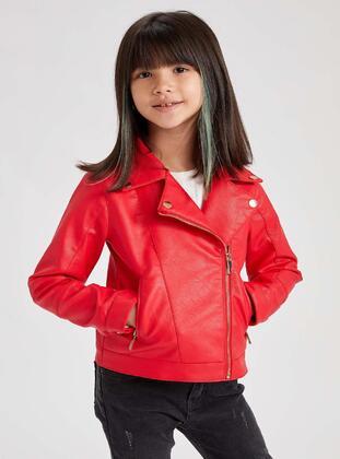 Red - Girls` Jacket - DeFacto