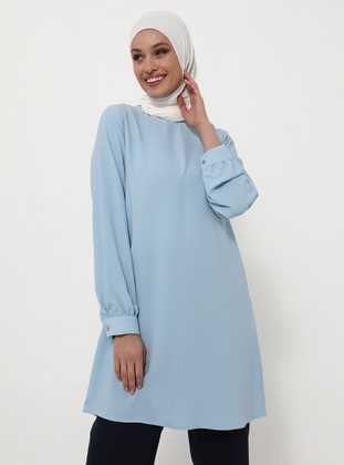 Crew Neck Basic Tunic - Ice Blue - Woman