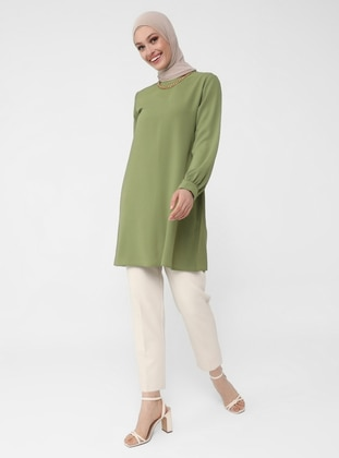 Crew Neck Basic Tunic - Peanut - Woman