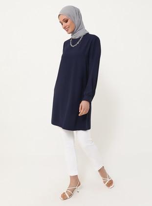 Crew Neck Basic Tunic - Navy Blue - Woman