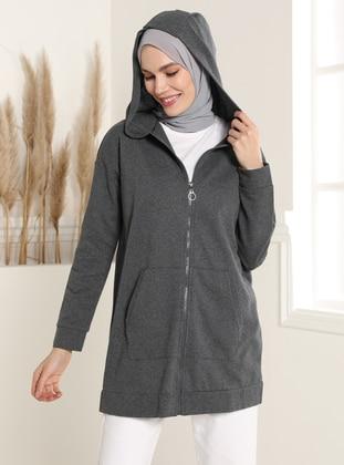 Hooded Zippered Sweatshirt - Anthracite