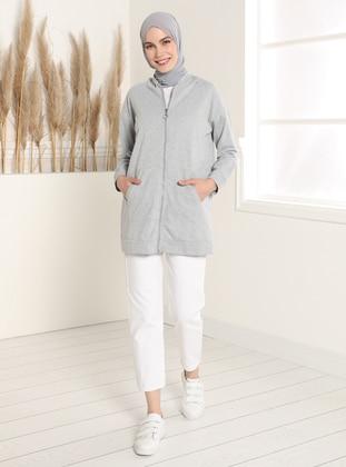 Hooded Zippered Sweatshirt - Gray