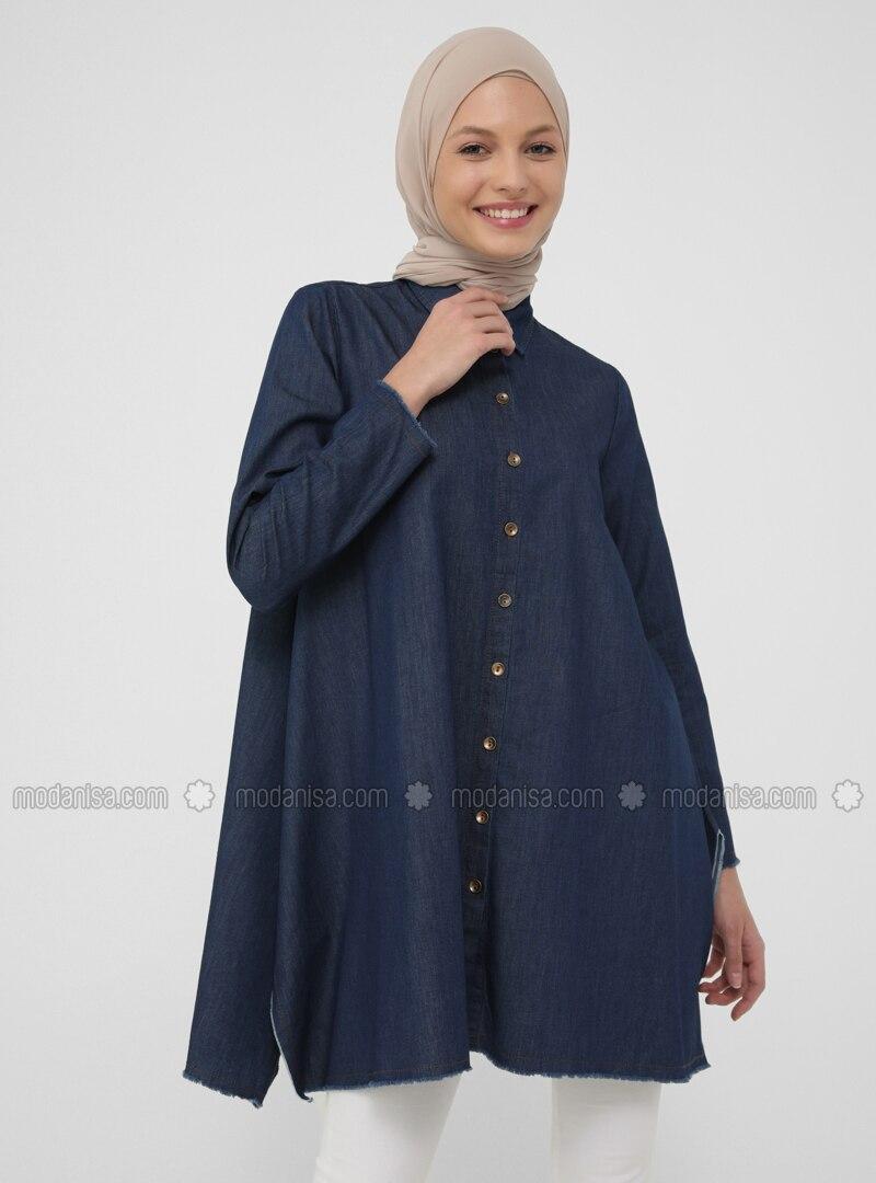 Natural Fabric Button Down Denim Tunic - Blue