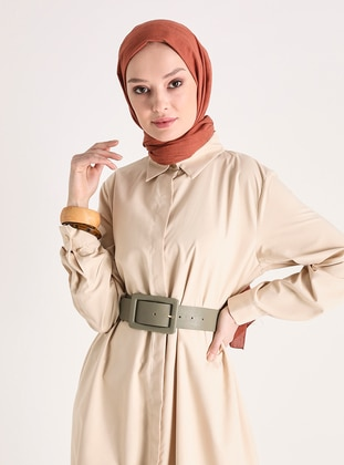 Easy to Use Cape with Side Pockets - Beige - Woman