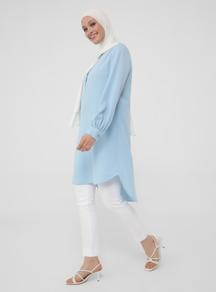 Half Placket Gathered Tunic - Ice Blue - Woman