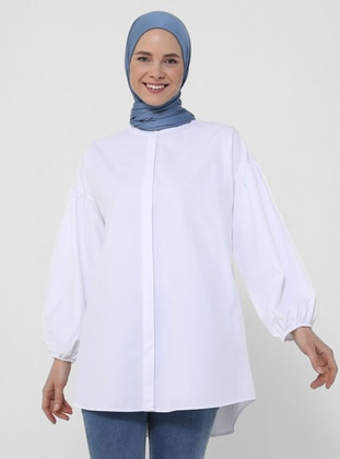 Balloon Sleeve Button Down Poplin Tunic - White - Basic