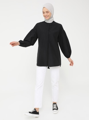 Black - Button Collar - Tunic