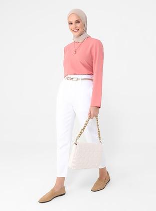 Tassel Detailed High Waist Jeans - White - Casual