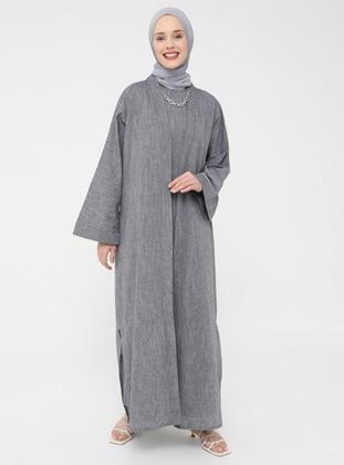 Natural Fabric Sleeveless Dress-Cape Set - Gray - Casual