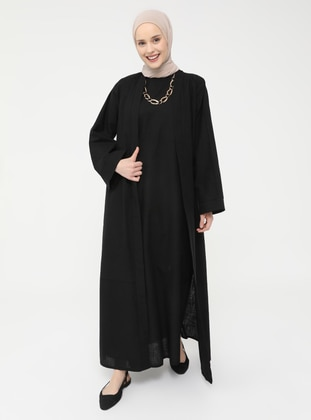 Natural Fabric Sleeveless Dress-Cape Set - Black - Casual