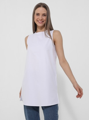 Poplin Sleeveless Tunic- White - Basic