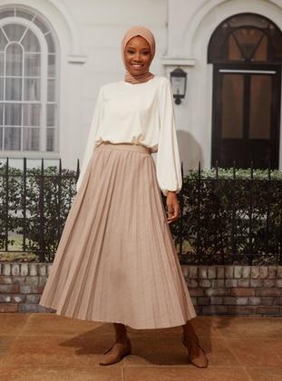 Pleated Skirt - Milk Coffee - Woman