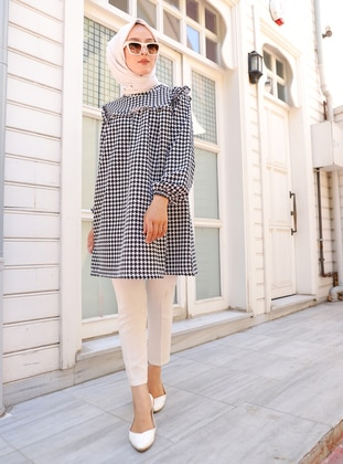 Black - Houndstooth - Crew neck - Tunic - Tofisa