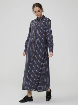 Navy Blue - Stripe - Point Collar - Unlined - Dress