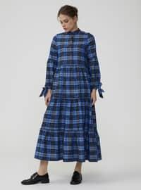Blue - Gingham - Crew neck - Unlined - Dress