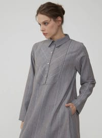 Gray - Stripe - Point Collar - Unlined - Dress