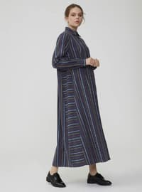 Navy Blue - Stripe - Point Collar - Unlined - Dress