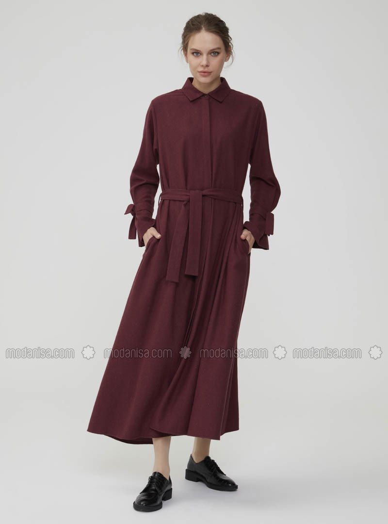 Maroon - Point Collar - Unlined - Dress
