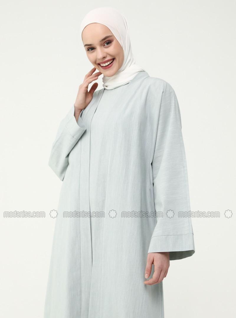 Zweiteiler Aus Armellosem Kleid Mantel Aus Naturlichem Stoff Nil Grun Casual