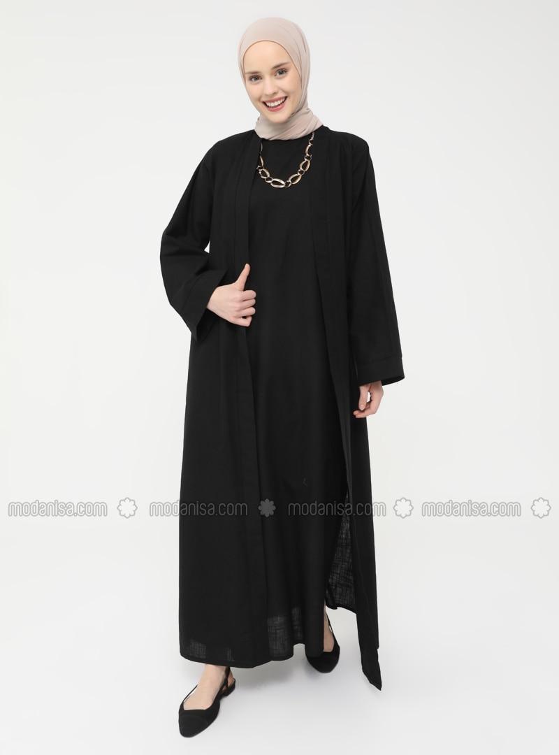 Natural Fabric Sleeveless Dress-Cape Set - Black - Casual