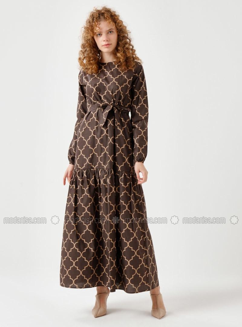 Brown - Multi - Crew neck - Unlined - Dress