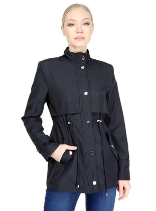 Black - Fully Lined - Crew neck - Trench Coat