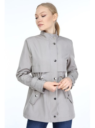 Stone - Fully Lined - Crew neck - Trench Coat