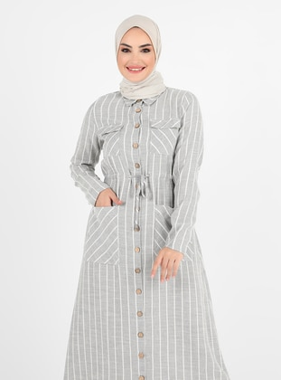 Gray - Stripe - Point Collar - Unlined - Cotton - Viscose - Modest Dress