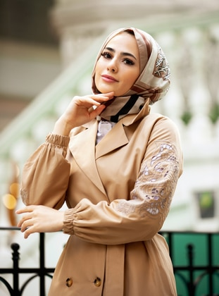 Beige - Unlined - Shawl Collar - Topcoat